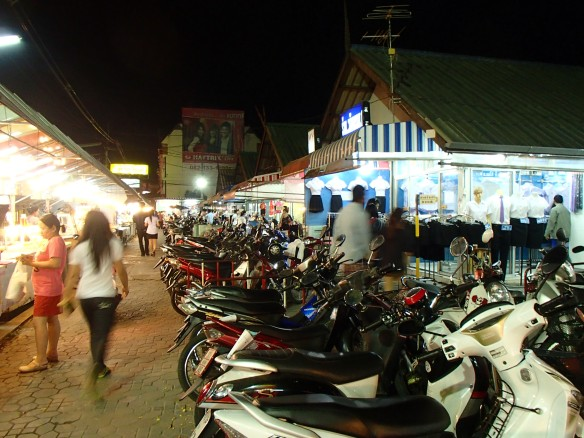 Motorbike parking and food stalls