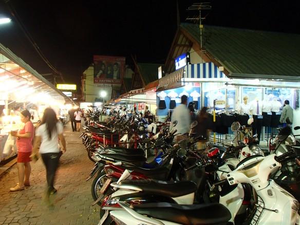 Motorbike parking and food stalls