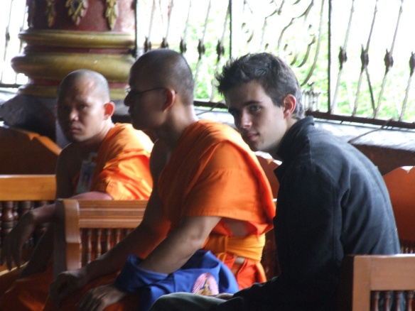 Anton with some mons from Wat Doi Saket