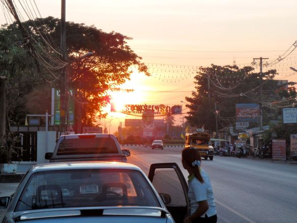 Sunset on the main road in Doi Saket.