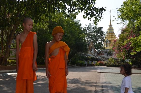 Arya meeting some novices at Wat Doi Saket.