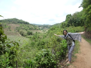 Me hiking around the village!