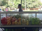 Moveable fruit stand on a motorbike!