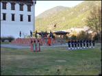 Flag lowering at Tashichhodzong