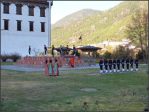 Flag lowering at Tashichhodzong